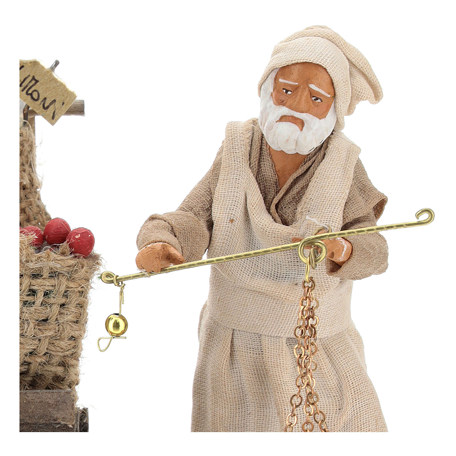 Fruit seller with counter and scale 13 cm 4