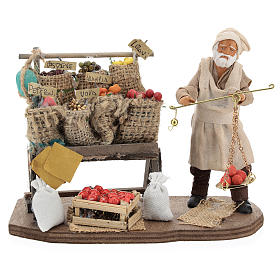 Fruit seller with counter and scale 13 cm s1