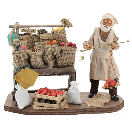 Fruit seller with counter and scale 13 cm 1