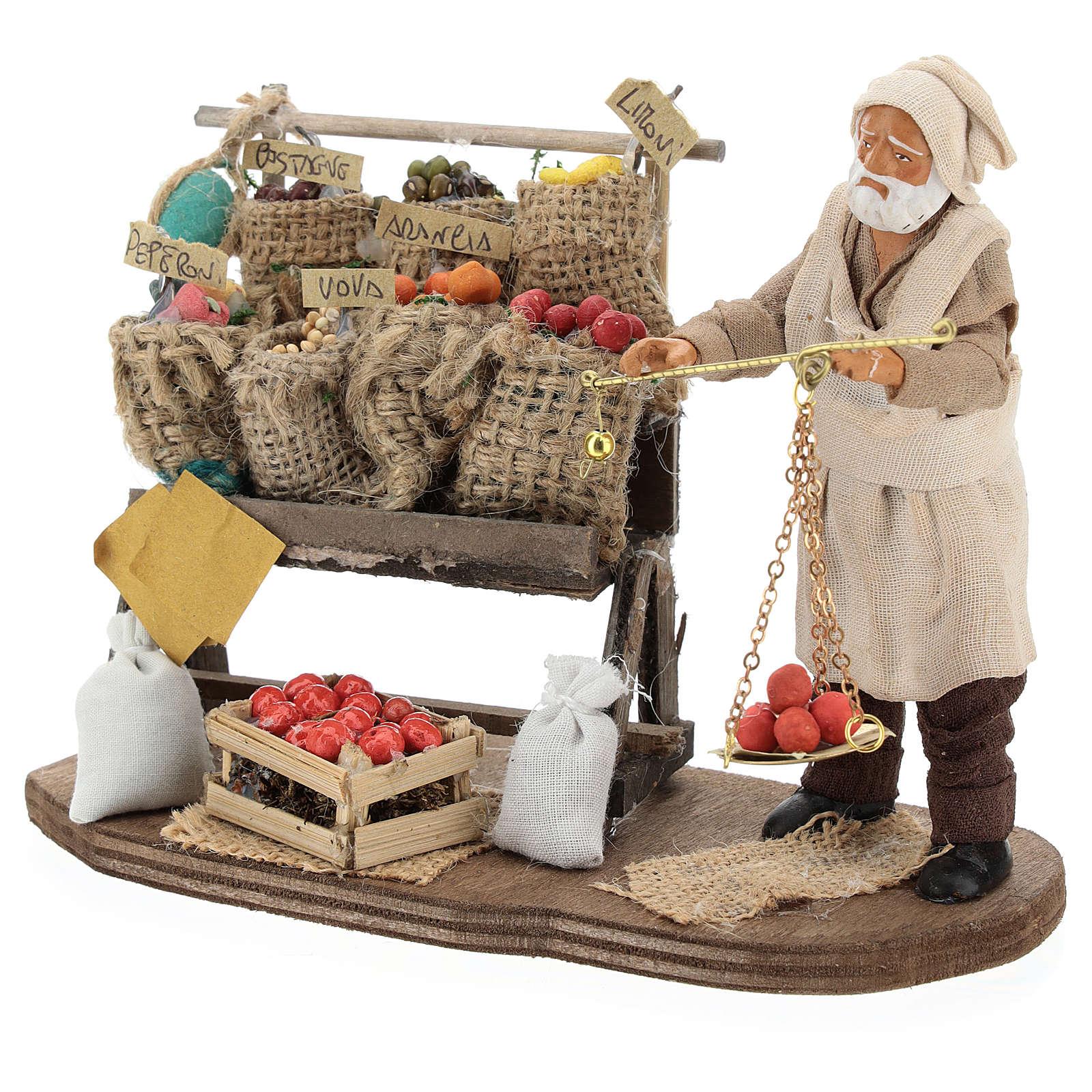 Marchand de fruits et légumes avec étal et balance 13 cm 4