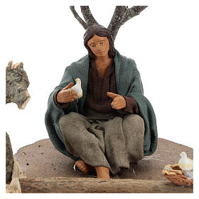 Woman sitting under the tree with birds Nativity scenes 14 cm s2