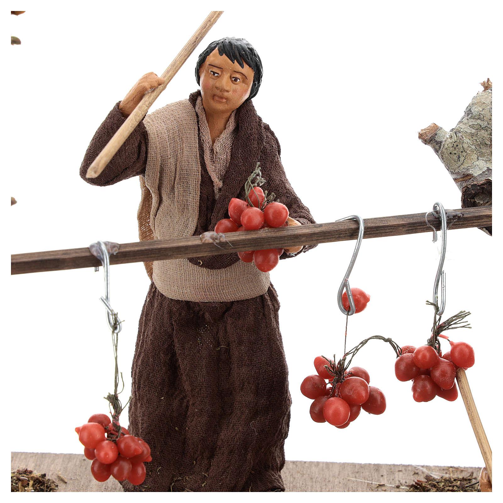 Scène paysans et tomates pendues 13 cm 4
