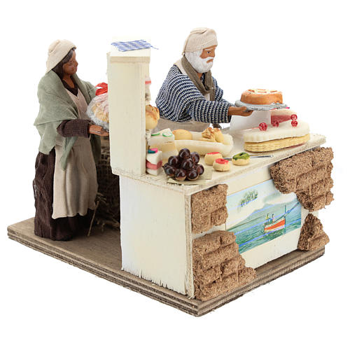 Pâtissier avec étal de pâtisseries et mouvement 13 cm 4