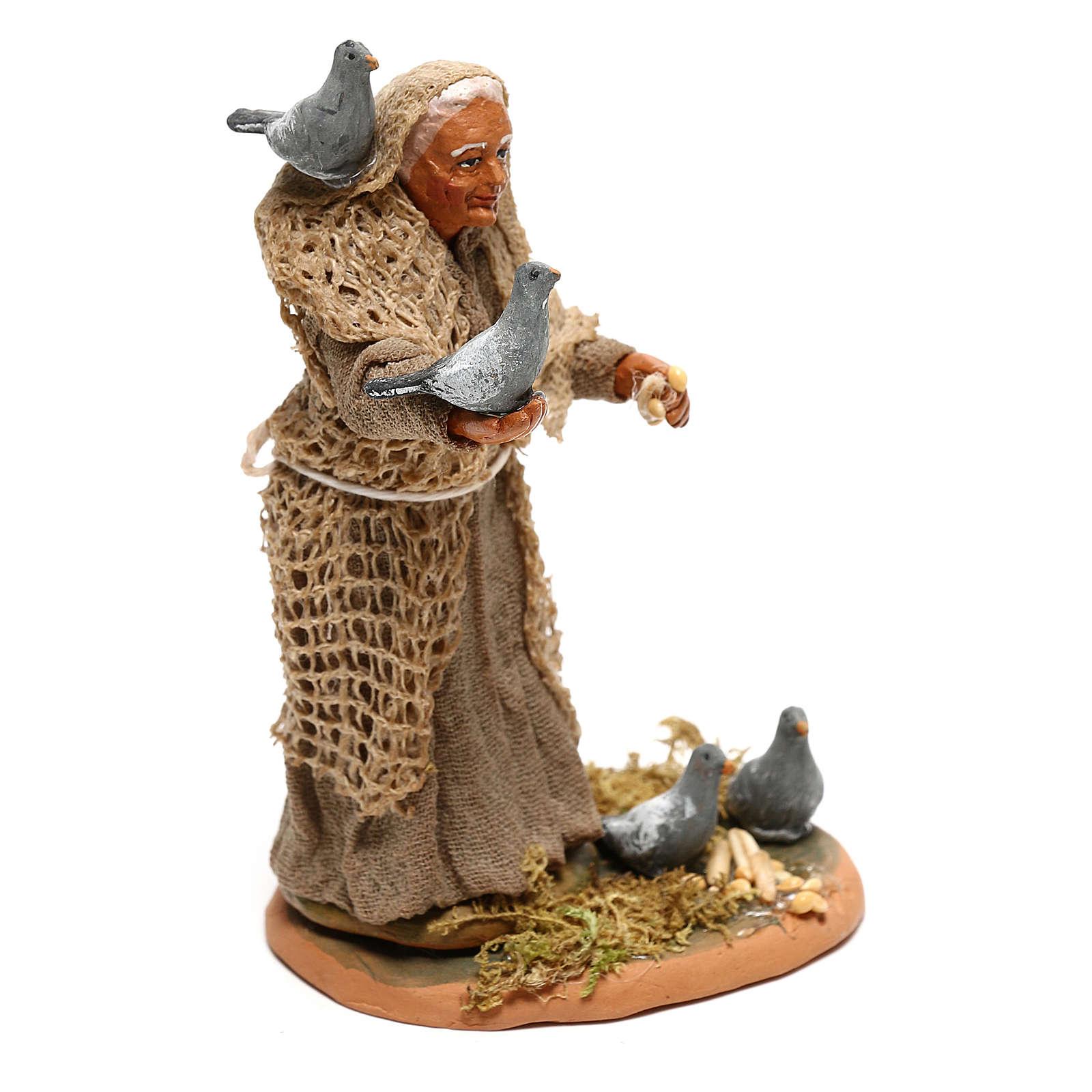 Femme avec pigeons pour crèche napolitaine 10 cm 4