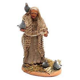Femme avec pigeons pour crèche napolitaine 10 cm s1