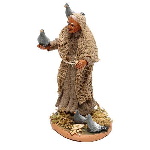 Femme avec pigeons pour crèche napolitaine 10 cm 2