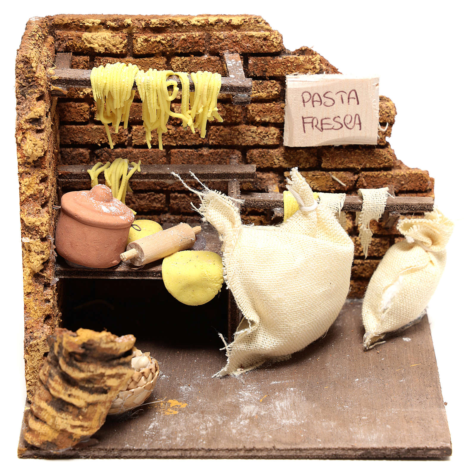 Escena pasta fresca de 10x15x10 para belén Nápoles de 10 cm 4