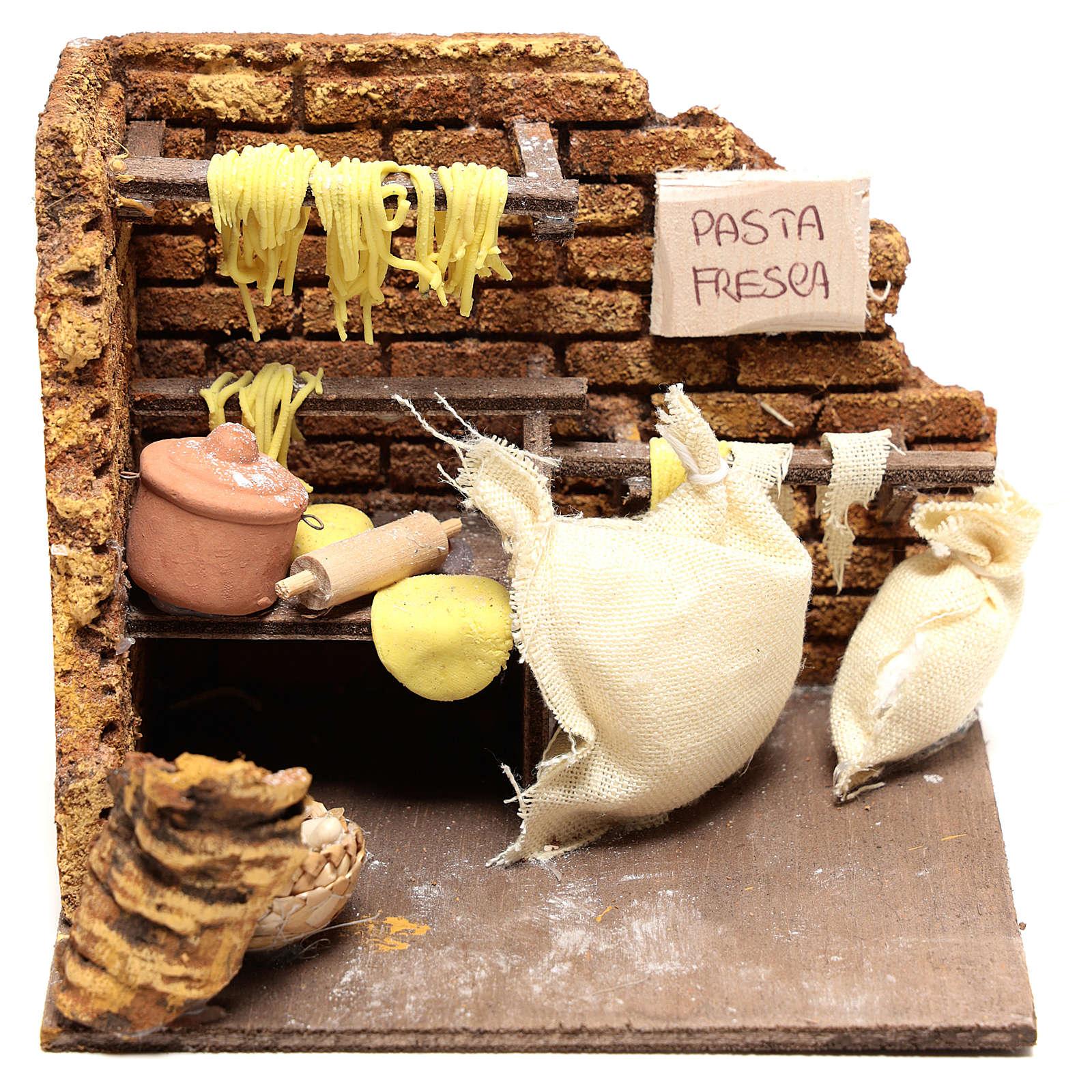 Scène pâtes fraîches 10x15x10 cm pour crèche Naples 10 cm 4