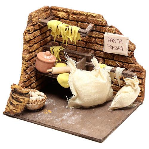 Scène pâtes fraîches 10x15x10 cm pour crèche Naples 10 cm 2