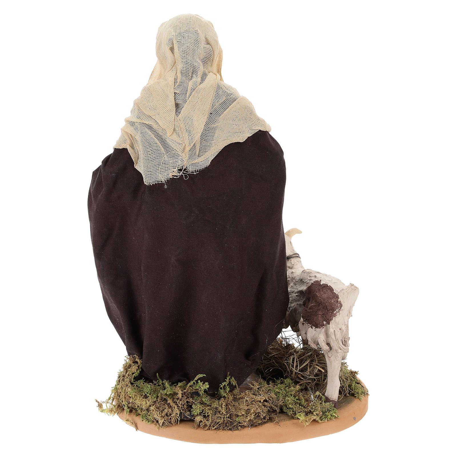 Pastore con capretta al guinzaglio 24 cm presepe Napoli 4