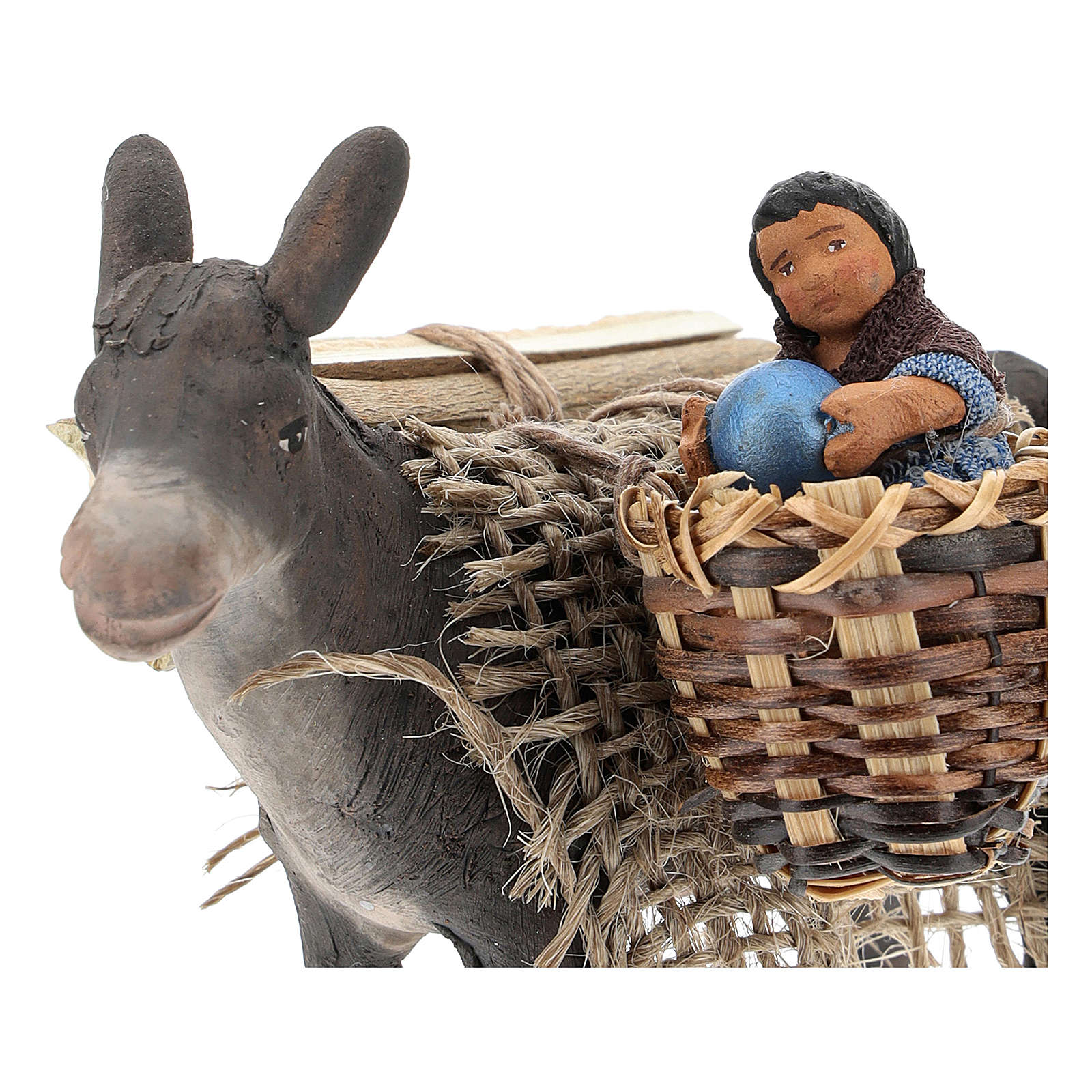 Little donkey with baby on basket 10 cm 4