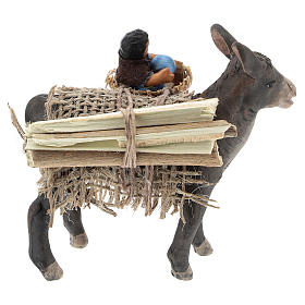 Little donkey with baby on basket 10 cm s5