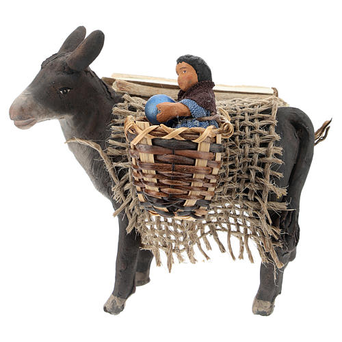 Little donkey with baby on basket 10 cm 1