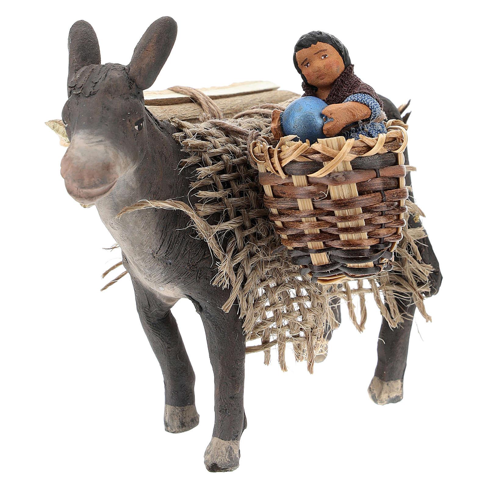 Burro con niño en la cesta belén napolitano 10 cm 4