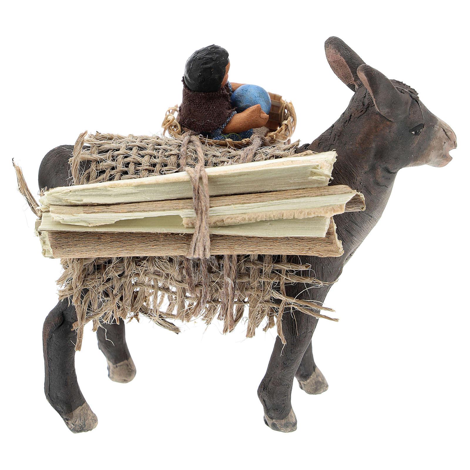 Âne avec enfant dans panier crèche napolitaine 10 cm 4