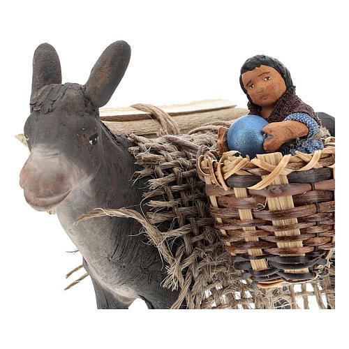 Asinello con bambino su cesto presepe napoletano 10 cm 2
