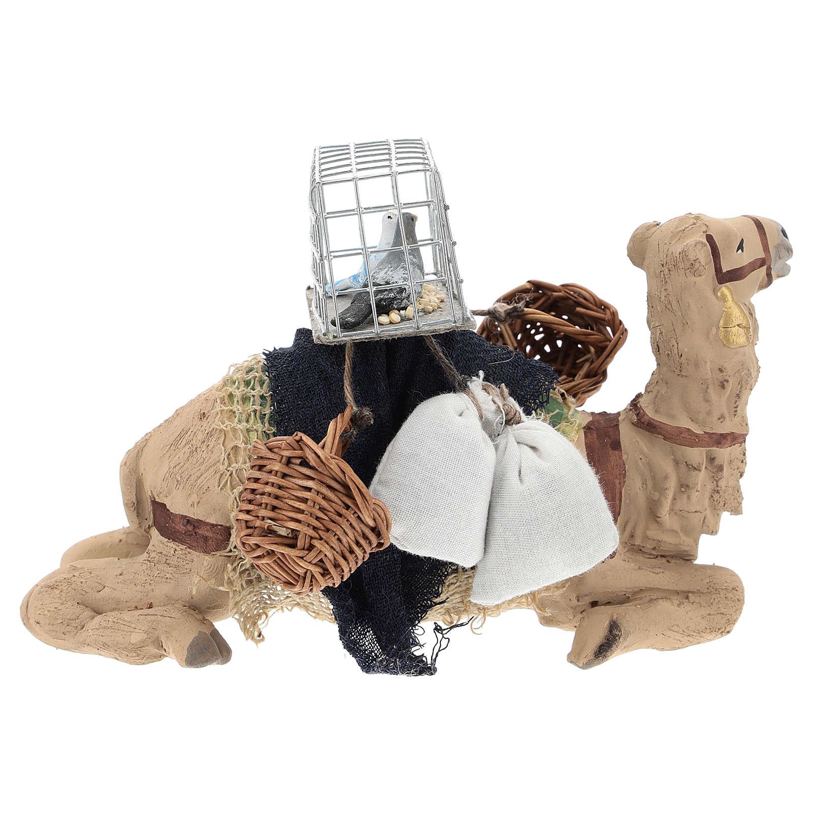 Cammello bardato seduto per presepe napoletano 10 cm 4