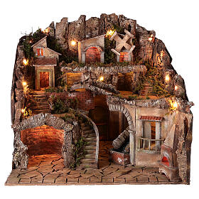 Village setting for 8 cm Neapolitan Nativity scene, with moving mill s1
