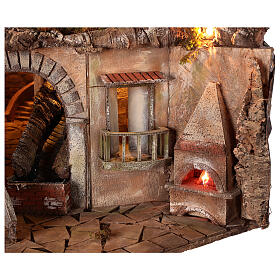 Village setting for 8 cm Neapolitan Nativity scene, with moving mill s2
