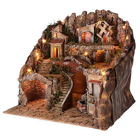 Village setting for 8 cm Neapolitan Nativity scene, with moving mill s3