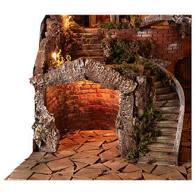 Village setting for 8 cm Neapolitan Nativity scene, with moving mill s4