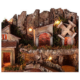 Village setting for 8 cm Neapolitan Nativity scene, with moving mill s7