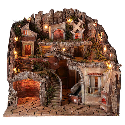 Village setting for 8 cm Neapolitan Nativity scene, with moving mill 1