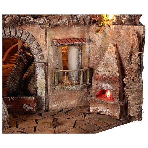 Village setting for 8 cm Neapolitan Nativity scene, with moving mill 2