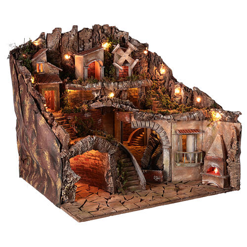 Village setting for 8 cm Neapolitan Nativity scene, with moving mill 5