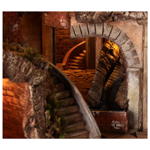 Village setting for 8 cm Neapolitan Nativity scene, with moving mill 6
