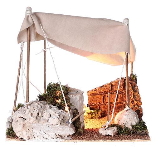 Tenda araba con luce per presepe napoletano di 8 cm 1