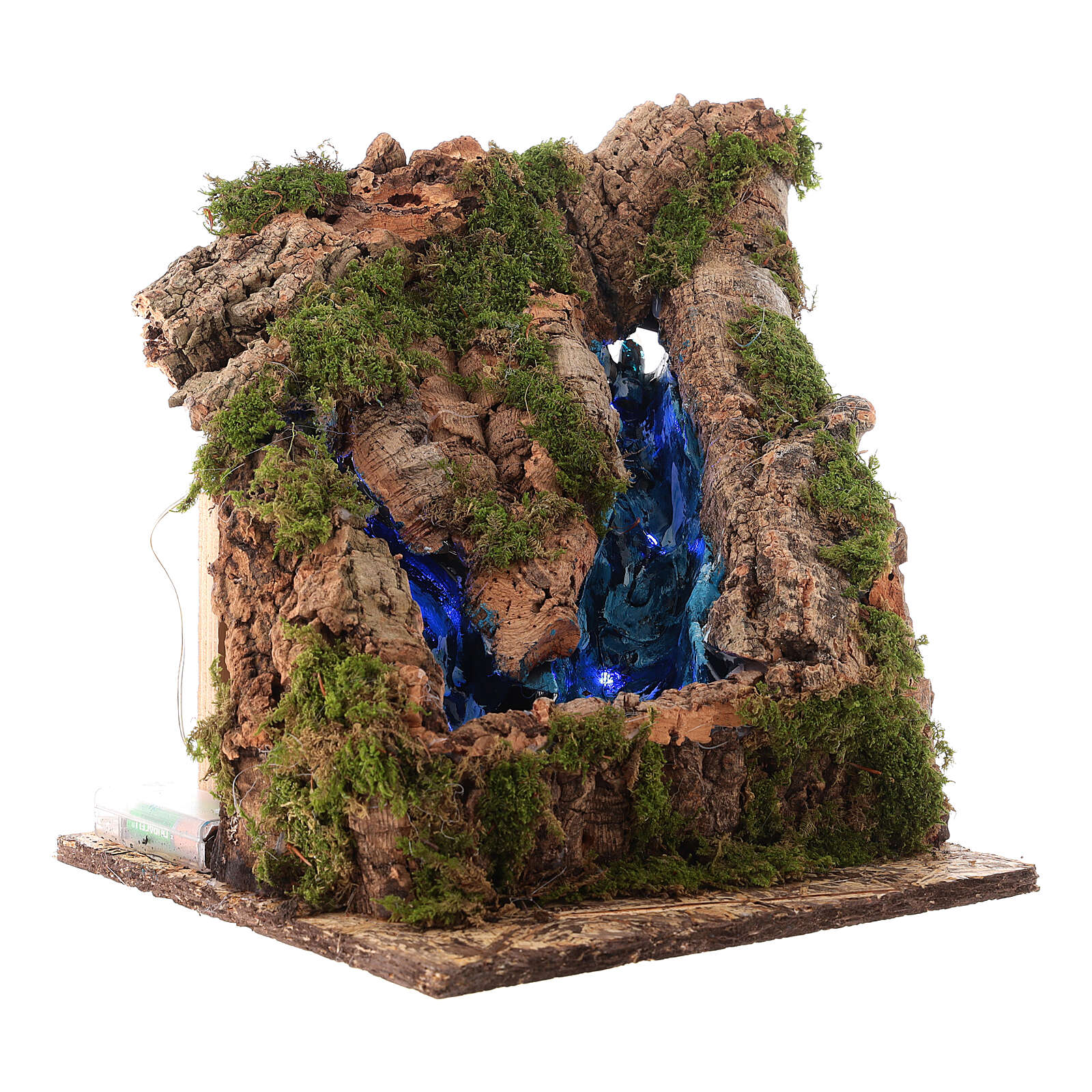 Mini waterfall with two flows, night light effect, 10 cm Naples nativity 4