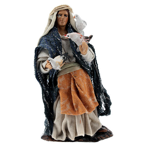 Woman with doves terracotta statue, 8 cm Neapolitan nativity 1
