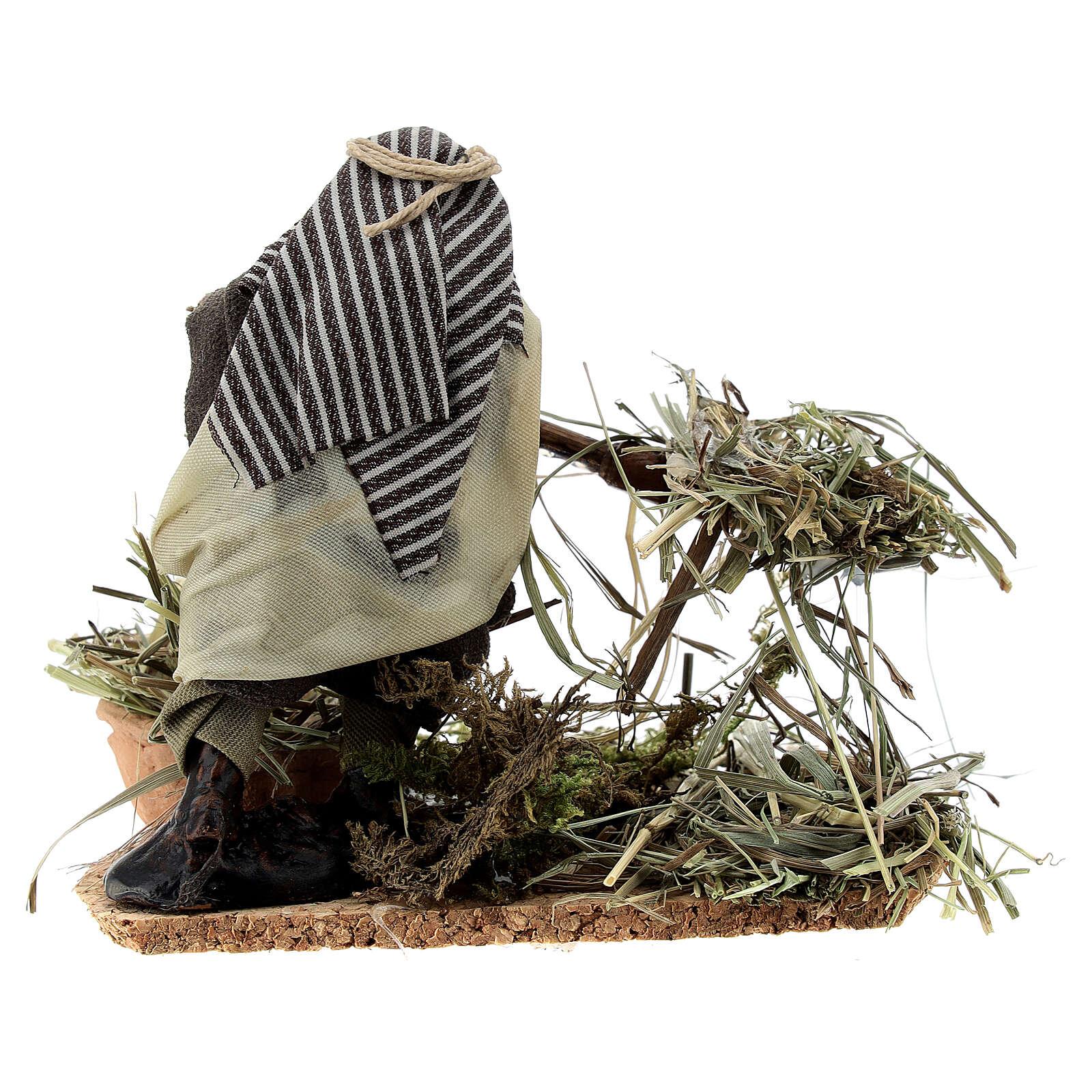 Fermier fourche paille crèche napolitaine terre cuite 8 cm 4