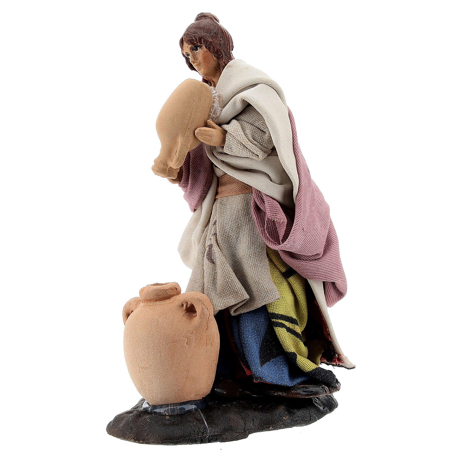 Woman with vases, 8 cm Neapolitan nativity figurine 4