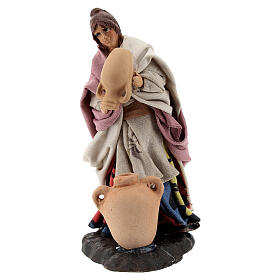 Woman with vases, 8 cm Neapolitan nativity figurine s1