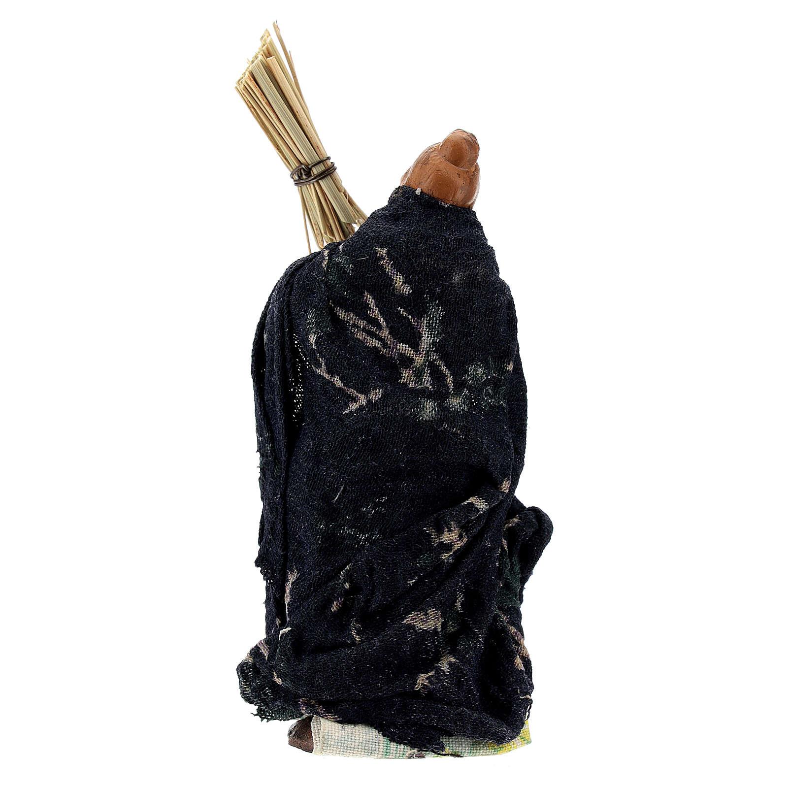 Femme avec balais levé terre cuite crèche napolitaine 8 cm 4