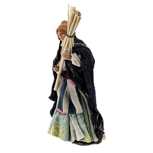 Femme avec balais levé terre cuite crèche napolitaine 8 cm 2