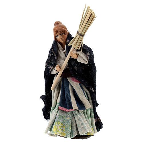 Woman with raised broom terracotta, 8 cm Neapolitan nativity 1