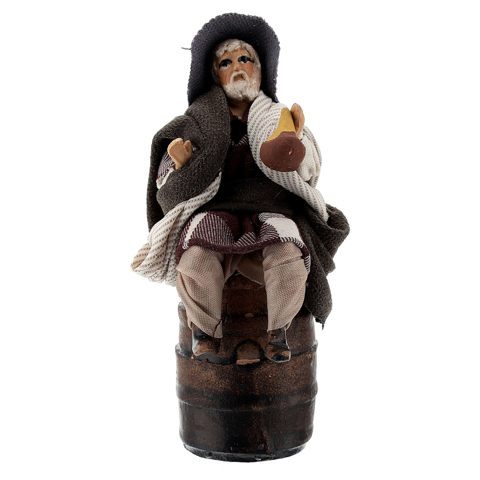 Borracho con garrafa en barril belén napolitano terracota 8 cm 4