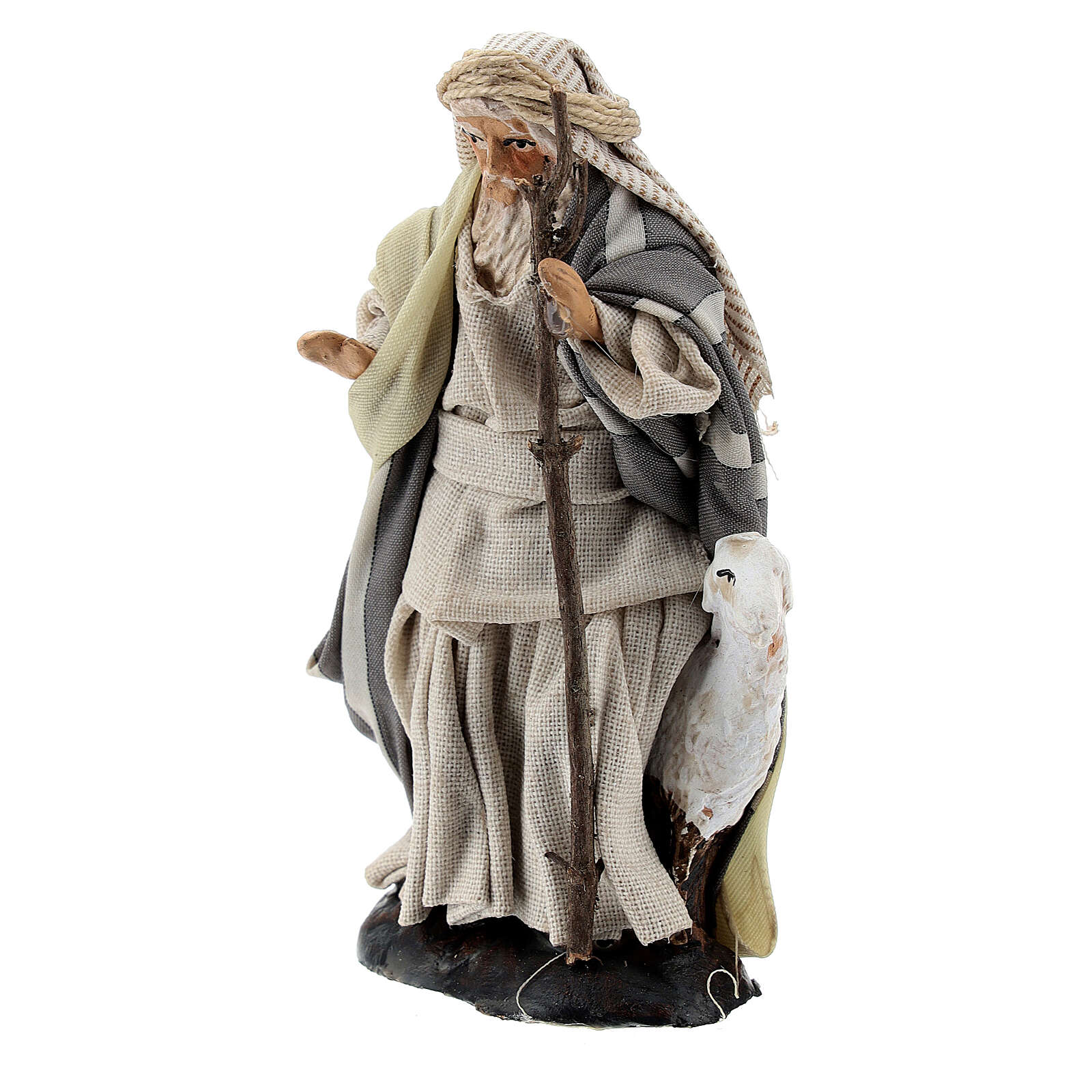 Shepherd with goat and stick, 8 cm Neapolitan nativity figurine 4