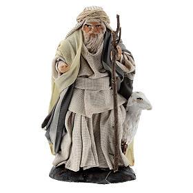 Shepherd with goat and stick, 8 cm Neapolitan nativity figurine s1
