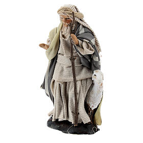 Shepherd with goat and stick, 8 cm Neapolitan nativity figurine s2