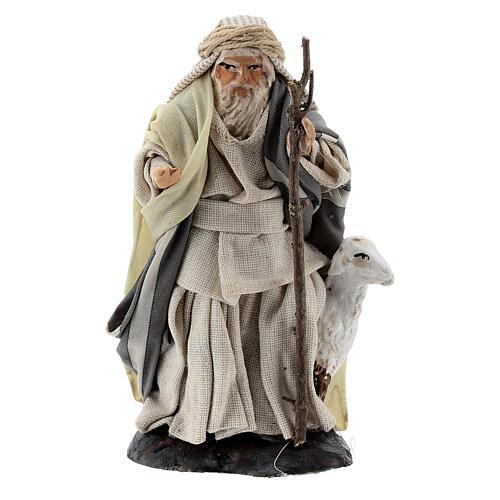 Shepherd with goat and stick, 8 cm Neapolitan nativity figurine 1