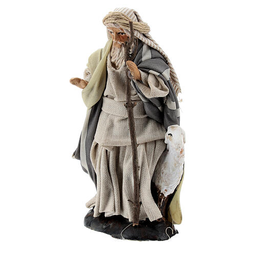 Shepherd with goat and stick, 8 cm Neapolitan nativity figurine 2