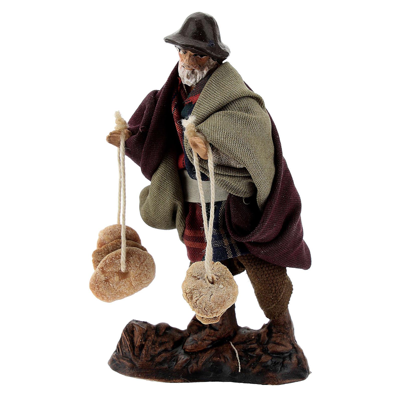 Man with freselle bread, 8 cm Neapolitan nativity figurine 4
