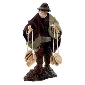 Man with freselle bread, 8 cm Neapolitan nativity figurine s1