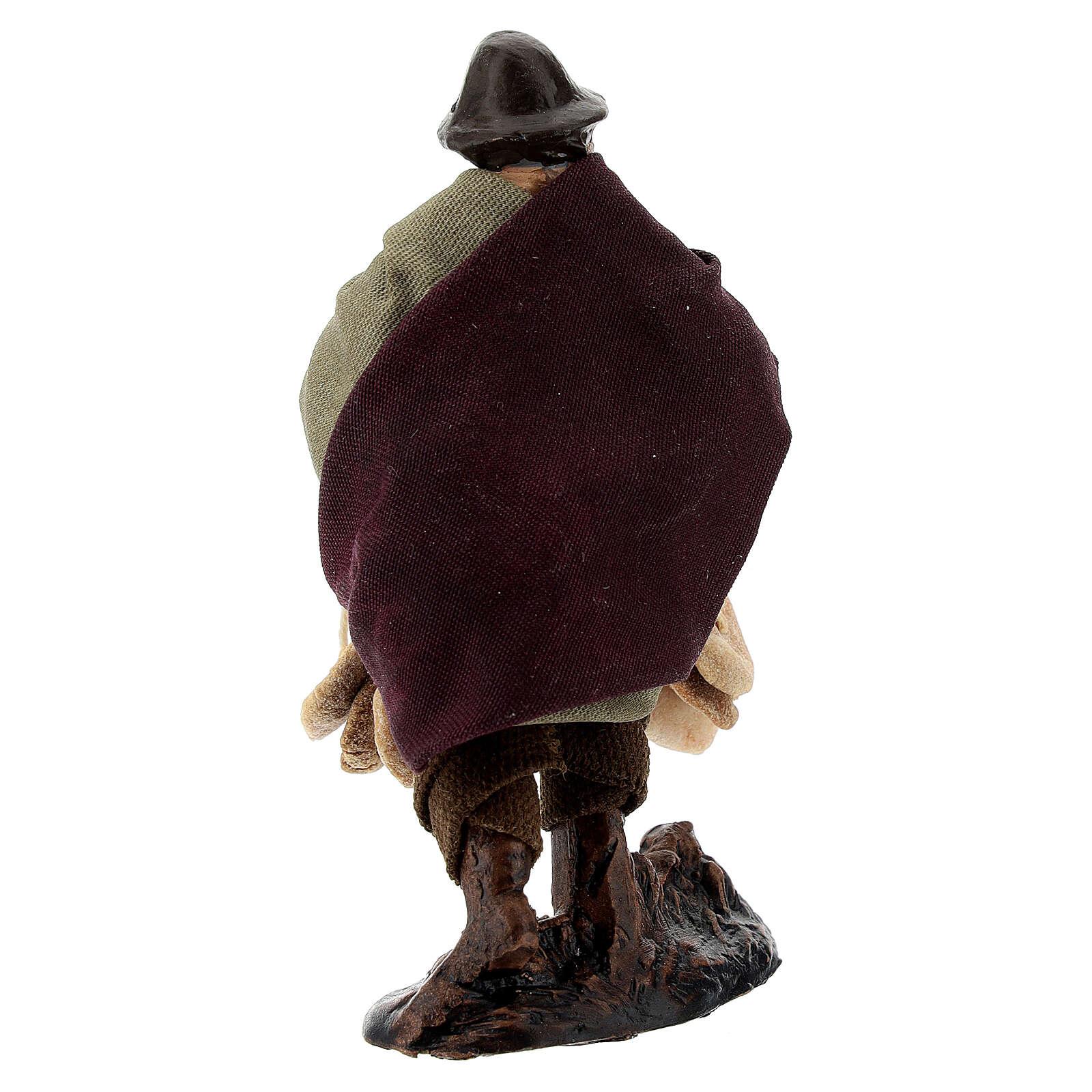 Uomo con freselle statua terracotta presepe napoletano 8 cm 4
