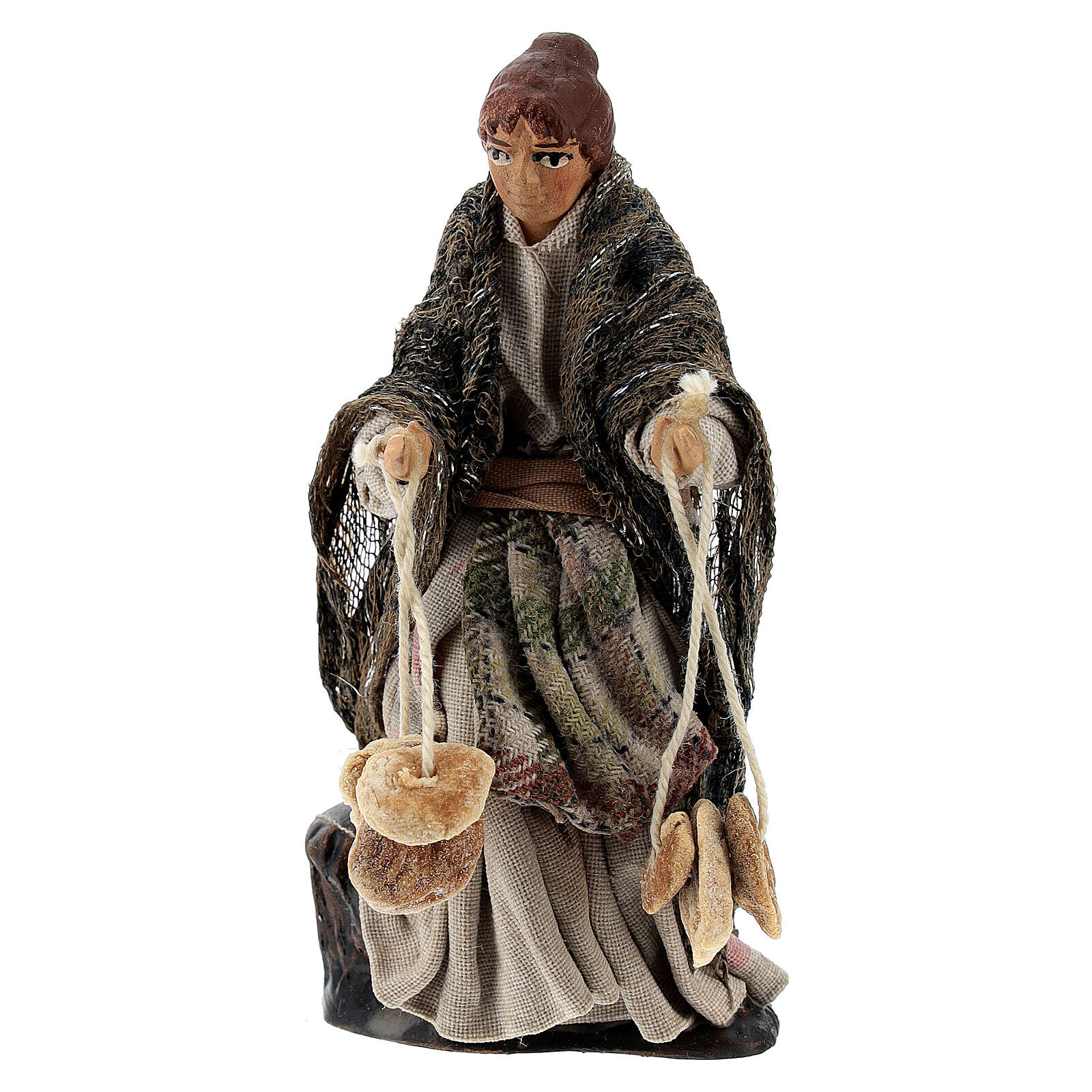 Woman with friselle bread, 8 cm Neapolitan nativity figurine 4
