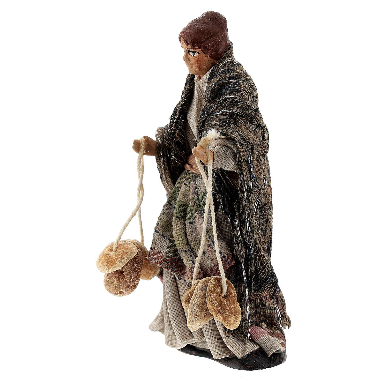 Femme avec pains santon crèche napolitaine terre cuite 8 cm 4